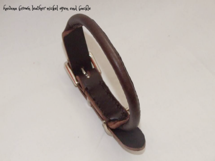 Hand stitched Rolled Leather Dog Collars
